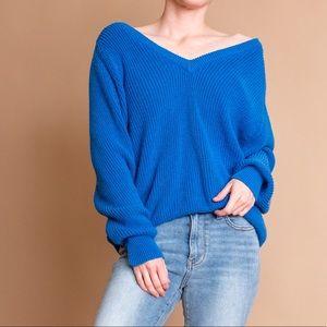 Vintage 80s cobalt blue waffle knit v neck sweater